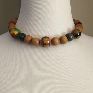 ⬇️❗️ Large Decorated Wood Bead Necklace